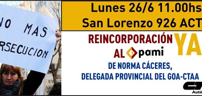 Acto en PAMI por la reincorporación de Norma Cáceres y el respeto a los derechos gremiales