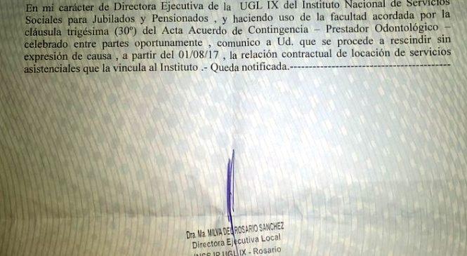 PAMI despidió a la referente del sindicato de odontólogos de la CTAA