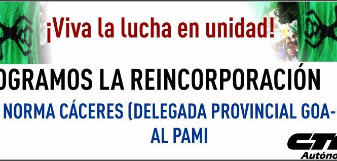 Norma Cáceres reincorporada a PAMI
