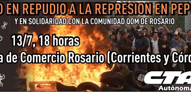 Acto en repudio a la represión en Pepsico y Barrio Qom Rosario
