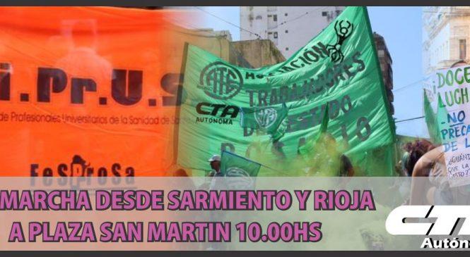 Estatales marcharán este martes en Rosario
