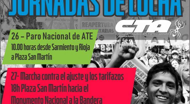 Jornadas de lucha contra el ajuste y los tarifazos en Rosario